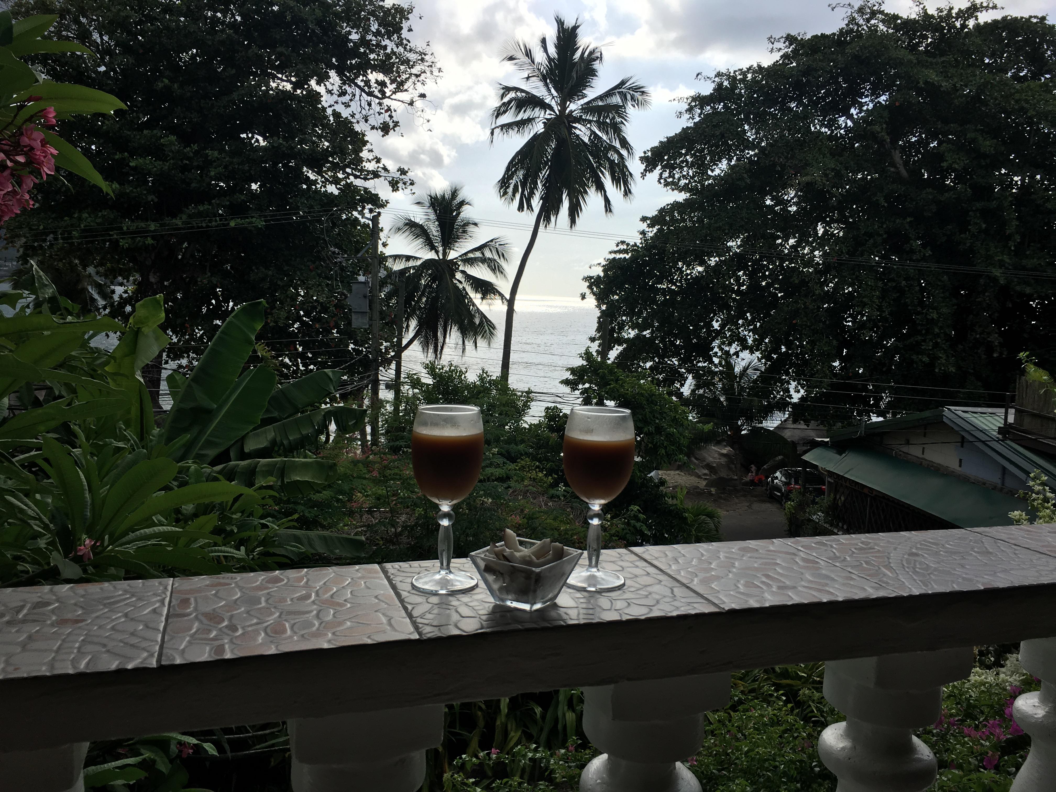 Meerblick bei leckerem Willkommenscocktail und frischer Kokosnuss